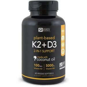 Sports Research Plant Based K2+D3 Dietary Supplement